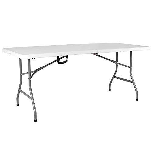 Home Discount Tisch, Plastik, weiß, 72x70x152