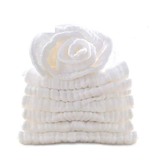 Muslin Organics Baby Washcloths, Premium Reusable Wipes - Extra Soft For Sensitive Skin,Newborn Muslin Baby Bath Towels Pure White 11x11 by Bwinka