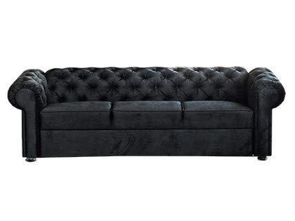 3-Sitzer 3er Chesterfield Sofa mit Schlaffunktion Schlafsofa Couch für Wohnzimmer Sofagarnitur Couchgarnitur Büro Wohnlandschaft Federkern Vintage Design Avia (Schwarz)