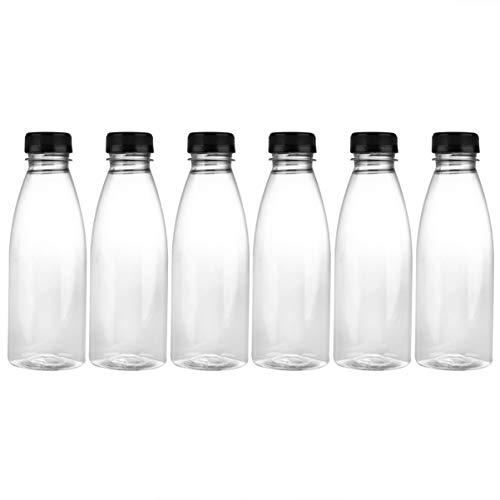 Cabilock 6 Unidades de Botella de Bebida Vacía de 500Ml Envases de Botellas de Agua Transparentes para Mascotas Tarro de Jugo de Leche de Plástico con Tapas (Tapas de Color Al Azar)