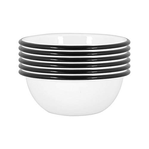 Argon Tableware Cuencos blancos esmalte - acero al aire libre camping Vajilla Vajilla - 16cm - Negro - Pack de 6