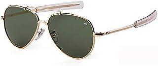 WLCLJJ - Gafas de sol Aviation para hombre, estilo militar americano, gafas de sol ópticas, piloto, para hombre, UV400 (Lenses Color: C1, doradas, verdes, talla: única)