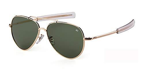 WLCLJJ Gafas de sol Aviation para hombre, estilo militar americano, gafas de sol ópticas, piloto, para hombre, UV400 (Lenses Color: C1, doradas, verdes, talla: única)