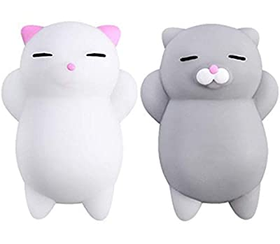 NUTTY TOYS Squishy Cat Set - 2 Soft Silicone Kawaii Kitties, Top Stress Relief Gifts 2019, Unique Stocking Stuffer Idea for Kids & Adults, Best Teen Girls & Tweens Present for Christmas 2020 by Nutty Toys