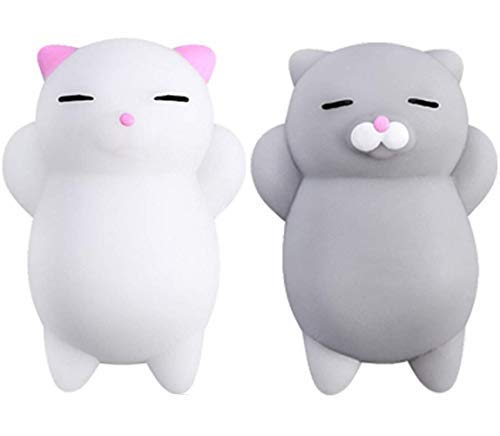 NUTTY TOYS Squishy Cat Set - 2 Soft Silicone Kawaii Kitties - Top Stress Relief Gifts 2020 - Unique Moms Day Gift - Best Teen Girls, Boys, Tweens, Kids & Adults Birthday Present Idea & Party Favor