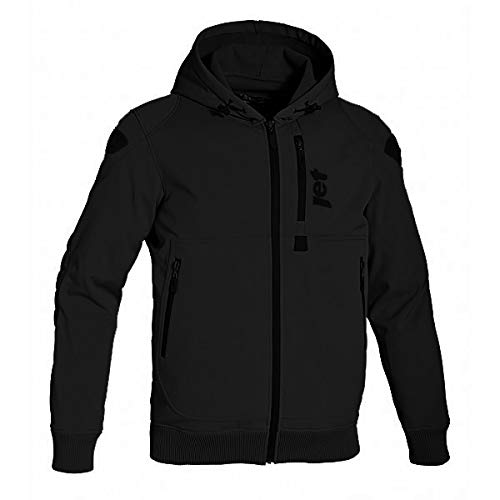 XL 42-44 , Black JET Motorcycle Motorbike Protective Jacket Black and Grey Hoody Armoured Soft Shell