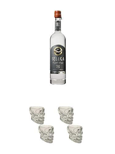 Beluga Gold Line Russischer Vodka 0,7 Liter + Wodka Totenkopf Shotglas 2 Stück + Wodka Totenkopf Shotglas 2 Stück