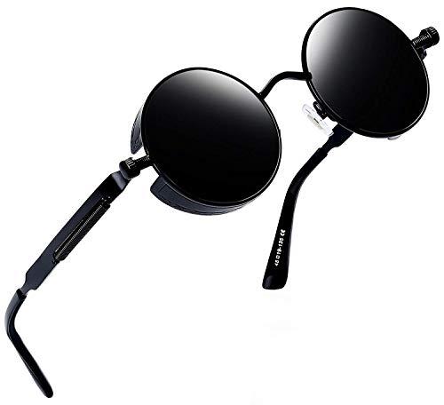 Joopin Redondas Gafas de sol Polarizadas Retro Vintage John Lennon Círculo Metálico Hippie Steampunk para Hombres y Mujeres UV400 E4056 Negro retro