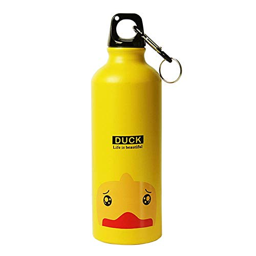 Botella de agua Dubens de 500 ml, de metal, para senderismo, camping, deporte, al aire libre, para deportes, aleación de aluminio, para niños, regard (pato dorado)