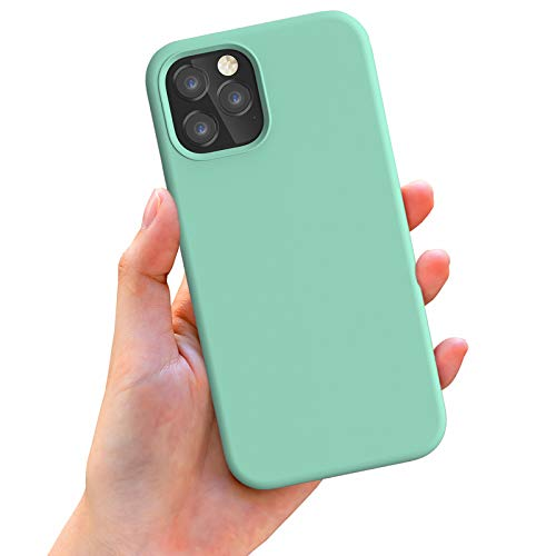 Anyos Compatible with iPhone 12 Case and iPhone 12 Pro Case 6.1 inch, Liquid Silicone Rubber Full Body Protective Phone Case with Soft Microfiber Cloth Lining for Women Men Girls Boys, Mint Green