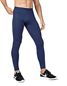 iEventStar - Mallas para correr con capa base de fitness para hombre (1 paquete: azul marino, L (cintura: 31-34 pulgadas)