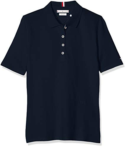 Tommy Hilfiger Damen TH Essential REG Polo SS Poloshirt, Blau (Sky Captain 403), Medium (Herstellergröße:M)
