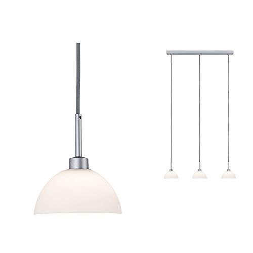 Paulmann 70925 Pendelleuchte Parana max. 3x40 Watt Hängelampe Weiß, Chrom matt Deckenlampe Glas, Metall GU10