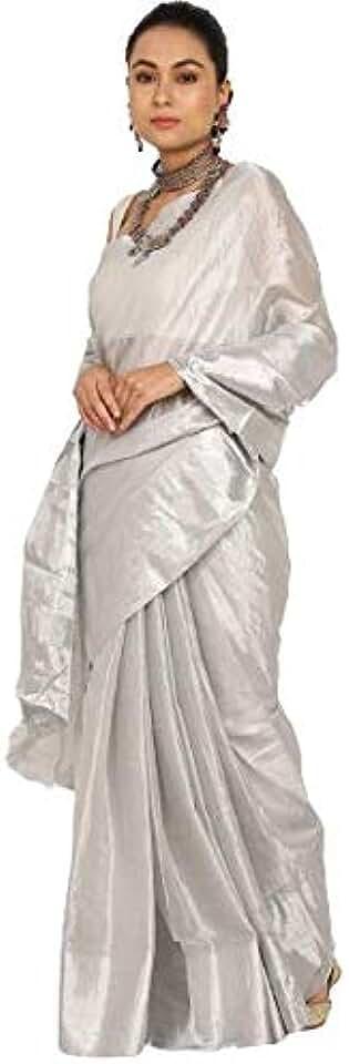 Indian Ayesha Fashion Women's Kanchipuram Uppada Cotton Saree with Blouse (Ayesha 01s, Silver) Saree