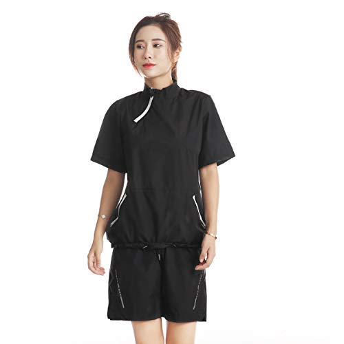 DNRZY F.I.T Sauna Sweat Suits for Women Short Sleeve Tops and Short Pants Workout Suits Indoor Outdoor Sportswear Running Workout Suits