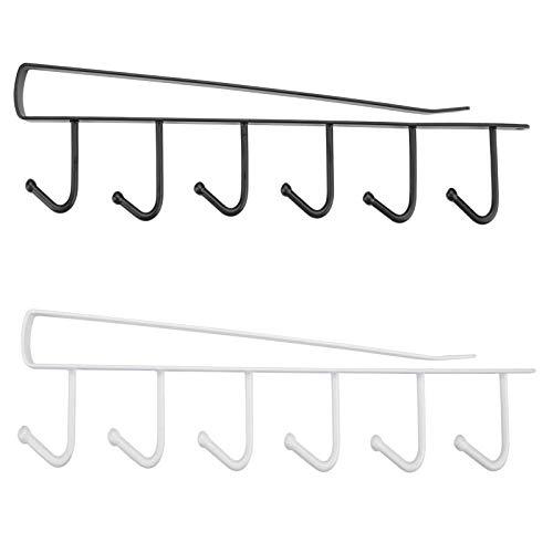Soporte para tazas, soporte para armario, soporte para tazas, soporte para colgar tazas, copas de vino, 2 unidades, color negro y blanco