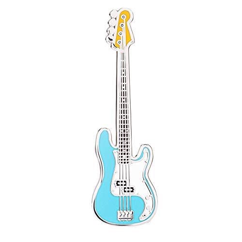 Geepins Esmalte Pin en forma de Guitarra | Precioso Broche Fender Bass | 52 mm | Úselo en una Mochila, Camisa, Chaqueta, Solapa, Sombrero o Corbata | Presentado en un hermoso Estuche de Guitarra