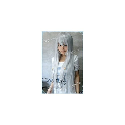 A popular silver white mix straight 80cm long cosplay wig now (japan import)
