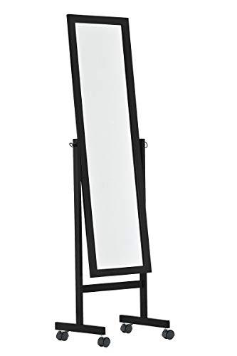 Espejo De Pie Yolanda De Madera Clásico I Espejo De Pie De Cuerpo Entero con Ruedas I Espejo De Madera 150 x 45 cm I Color:, Color:Negro