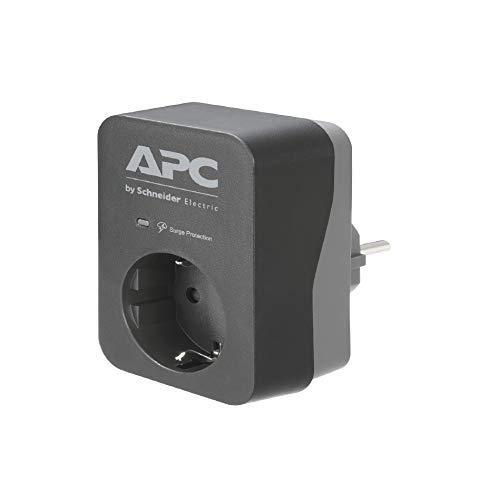 APC Surge Protector PME1WB-GR - Adaptador de Enchufe con protección contra sobretensiones (1 Enchufe Schuko, para PC, TV, etc.), Color Negro