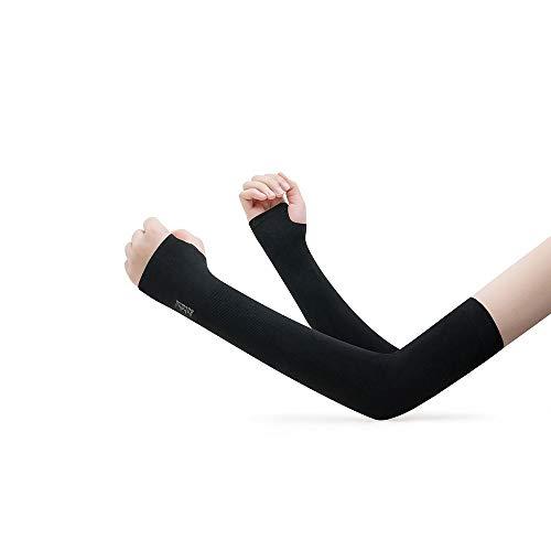 SJ Mangas para brazos, protección solar y protección UV, unisex, manga larga, para deportes al aire libre, cuatro colores (color: negro)