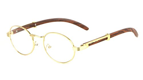Scholar Luxury Oval Metal & Wood Eyeglasses/Clear Lens Sunglasses (Gold & Cherry Wood Frame, Clear)