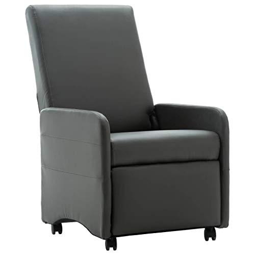 Festnight Liegesessel Moderner Relaxsessel Sessel Fernsehsessel Wohnzimmer mit Liegefunktion Sofaliege Polsterliege Grau Kunstleder