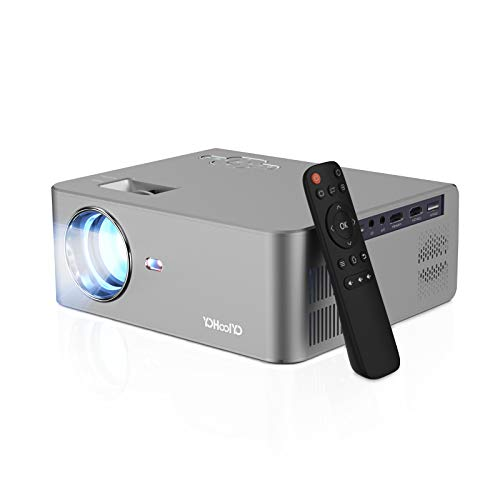 Video Projector 1080P 5500L Max 250inch Display Supported, 50000hrs LED Lamp Life, Built in HiFi Speaker, Compatible with 2 HDMI, USB, VGA, TV Stick, PS4 for Movie Nights, Home Theater by YOHOOLYO