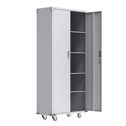 VINGLI Steel Storage Cabinet 72-Inch Metal Cabinets with Doors and Adjustable Shelves for Garage, Kitchen, Office and Laundry Room