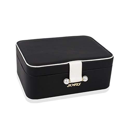 Joyería viajes Estructura Organizador Caja doble, portable de la joyería pequeño multi-función de la caja con HD Espejo, exhibición de la joyería caja de regalo de collar de anillos aretes,Negro