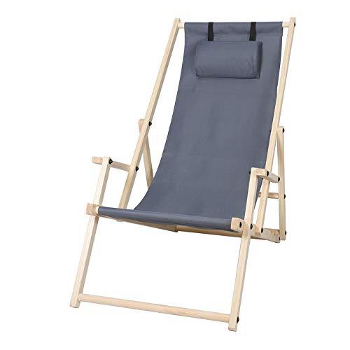 Hengda Holz Liegestuhl klappbar Gartenliege mit Armlehnen und Kopfkissen Abnehmbarem Strandliege für den Garten, Terrasse und Balkon (Upgrade(Mit Armlehne und Kopfkissen), Grau)
