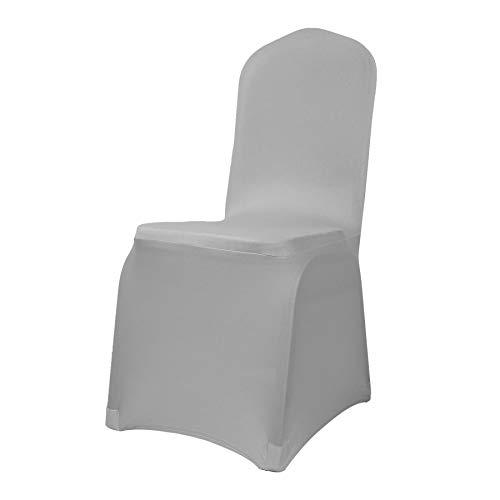 JS One Matstolsöverdrag stretch överdrag bröllop bankett tvättbar 1/4/6/10 st - (silver)