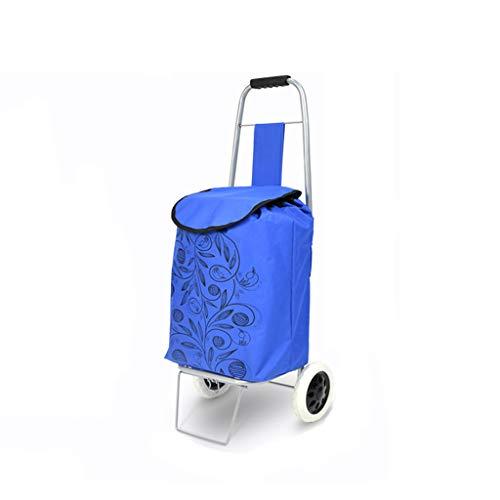 SI YU De nieuwste Opvouwbare Winkelwagen Rustige Rubber Tweewieler boodschappenbenodigdheden Auto Met Wiel Dragende Multi-pocket Waterdichte Tas En Wasmand Platform Laden (blauw)