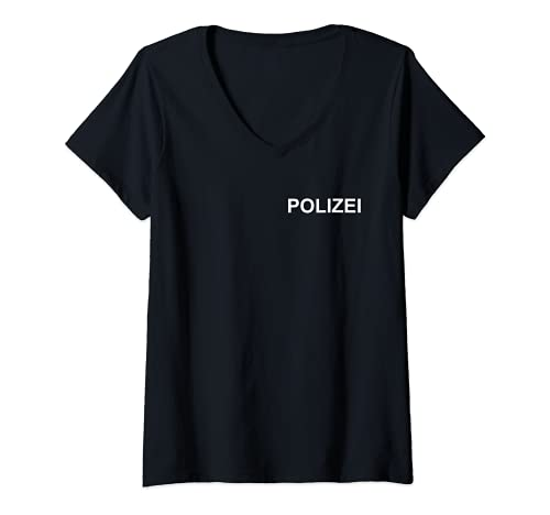 Mujer Camiseta de polica para disfraz de uniforme de polica Camiseta Cuello V