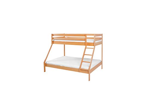 Mobi Furniture stapelbed 90 x 200 + lattenbodem massief beuken hoogslaper logeerbed