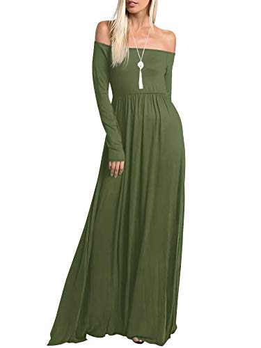 Amoretu Womens Long Sleeve Off Shoulder Maxi Long Dress with Pocket(Olive,M)