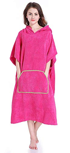 Winthome Ärmellos Badeponcho Handtuch,Bademantel mit Kapuze zum Umziehen am Strand / im Schwimmbad (rosarot)