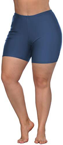 ATTRACO Womens Plus Size Swim Bottoms High Waist Bathing Shorts Water Shorts Blue 3X