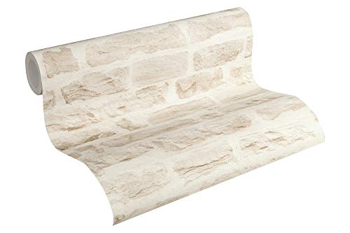 *A.S. Création Vliestapete Best of Wood`n Stone 2nd Edition Tapete in Stein Optik fotorealistische Steintapete Naturstein 10,05 m x 0,53 m beige creme Made in Germany 355803 35580-3*