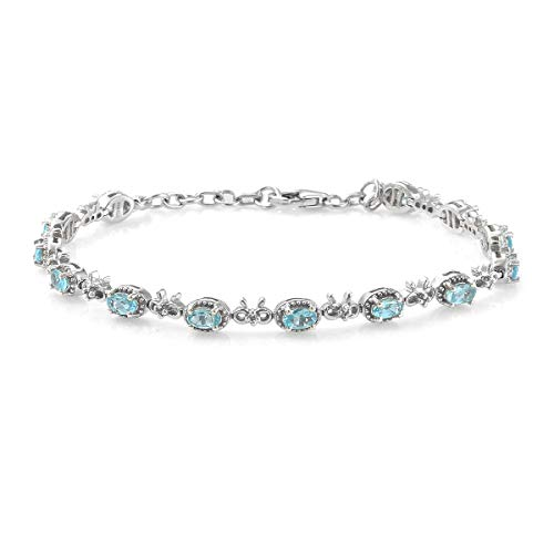 925 Sterling Silver Platinum Plated Oval Apatite Zircon Bracelet Jewelry for Women Size 8' Ct 2.7