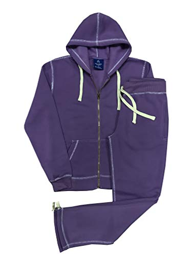 Women's Light Cold Weather Active wear Soft Comfortable Fleece Sweat Suit Top and Bottom Outfit (Purple, XL)