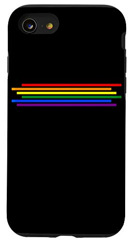 iPhone SE (2020) / 7 / 8 LGBT Gay Lesbian Pride Flag Rainbow Black Phone Case
