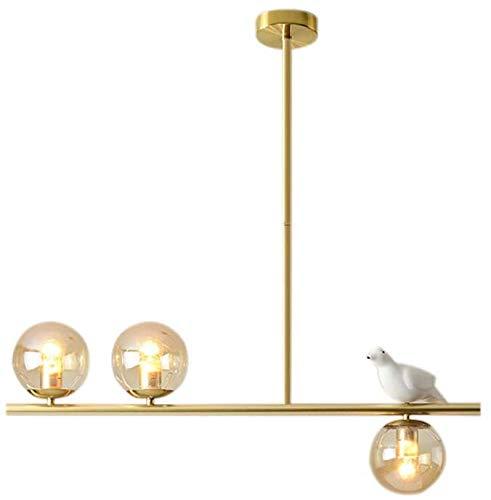 Isla de cocina moderna lámpara de araña de luz creativa en forma de pájaro con tres lámparas de la cocina de la casa, bar, restaurante,Gold