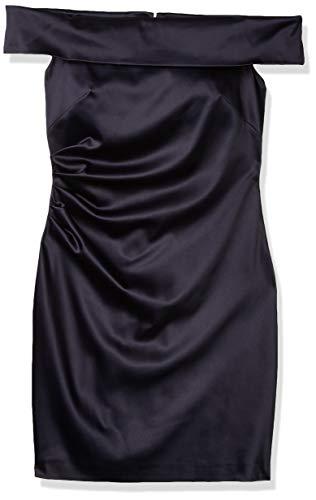 Eliza J Women's Off The Shoulder Side Pleated Sheath Dress, Navy, 8