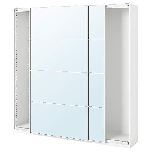 PAX garderob med skjutdörrar 200 x 43 x 201 cm vitt/Auli spegelglas