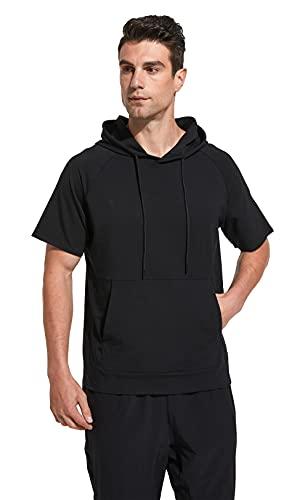 Westkun T-Shirt con Cappuccio da Uomo Felpa Leggera Manica Corta Fitness Corsa Contrasto Moda Tops con Tasca a Marsupio(Nero,XL)