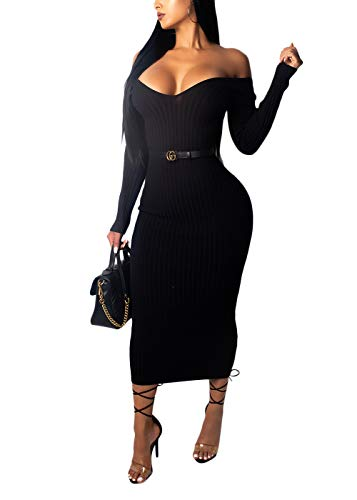 Cosygal Women's Casual Sexy Solid Off Shoulder Slim Maxi Long Knit Sweater Dress Black Large