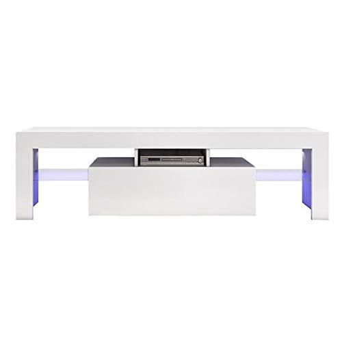 YXLM Mueble de TV moderno blanco con luz LED de 130 cm, color blanco