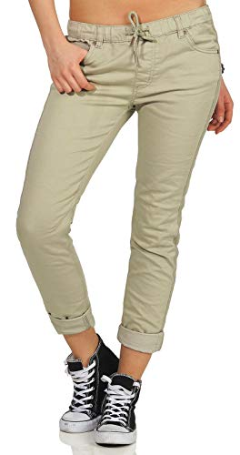 Fresh Made Damen Stretch Hose Jeans-Optik LFM-130/LUS-134/LFM-147 Boyfriend Look Green L