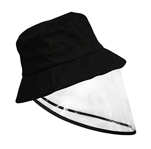HECA Kids Boy Girl Summer Bucket Hat Sunhat with Removable Clear Shield Visor Fisherman Hat Sneeze and Cough Guard Black